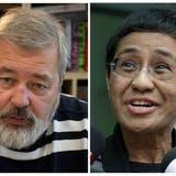Dmitri Muratow und Maria Ressaerhalten den Friedensnobelpreis. (Bilder: Keystone)