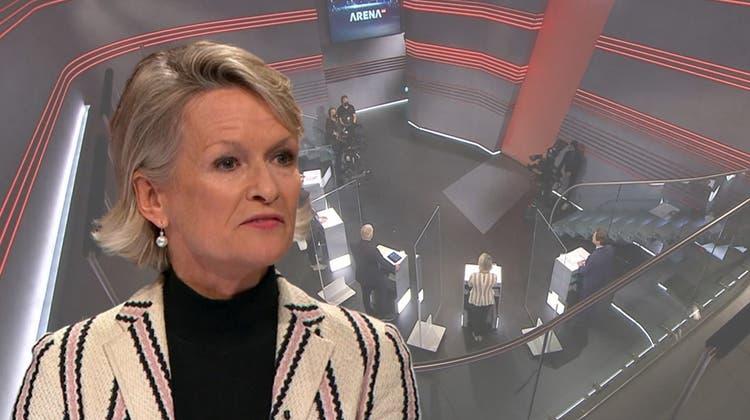 Andrea Gmür, Ständerätin Die Mitte (Screenshots: SRF / Collage: aib)