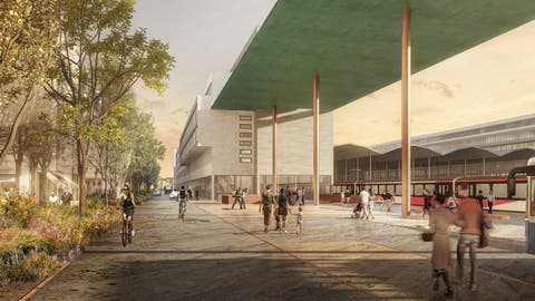 Zu erkennen ist unter anderem ein Fussgänger-/Velostegüber die Gleise, rechts das künftige Rösslimatt-Quartier. (Visualisierung: Team Güller Güller, Atelier Brunecky, Zürich)
