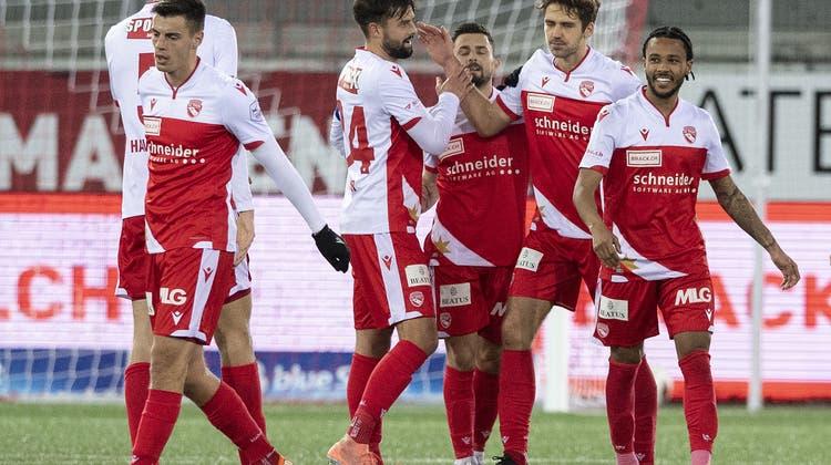 Zehn Siege und drei Remis aus den letzten 14 Spielen: Der FC Thun hat das, man man einen Lauf nennt. (Peter Schneider / KEYSTONE)