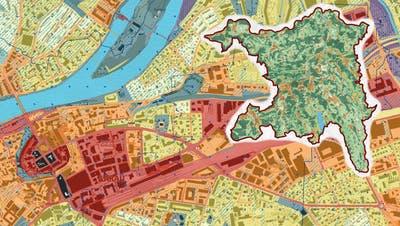 Die Karte zeigt, woes an einem heissen Tag am heissesten ist (rot), und wo vergleichsweise kühl (grün). Blau eingefärbt sindKaltluftströme. (Kanton Aargau)