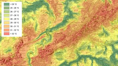 An einem Hitzetag wird es in der Innenstadt St.Gallensnachmittags um 16 Uhr über 32 Grad heiss, während es im Sittertobel und in den Wäldern deutlich kühler ist. (Bild: Stadt St.Gallen)