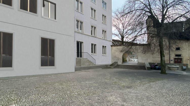 So wird sich der neue Effingerhof in Brugg nach dem Umbau vom Kirchplatz her präsentieren. (Visualisierung: zvg/Netwerch)