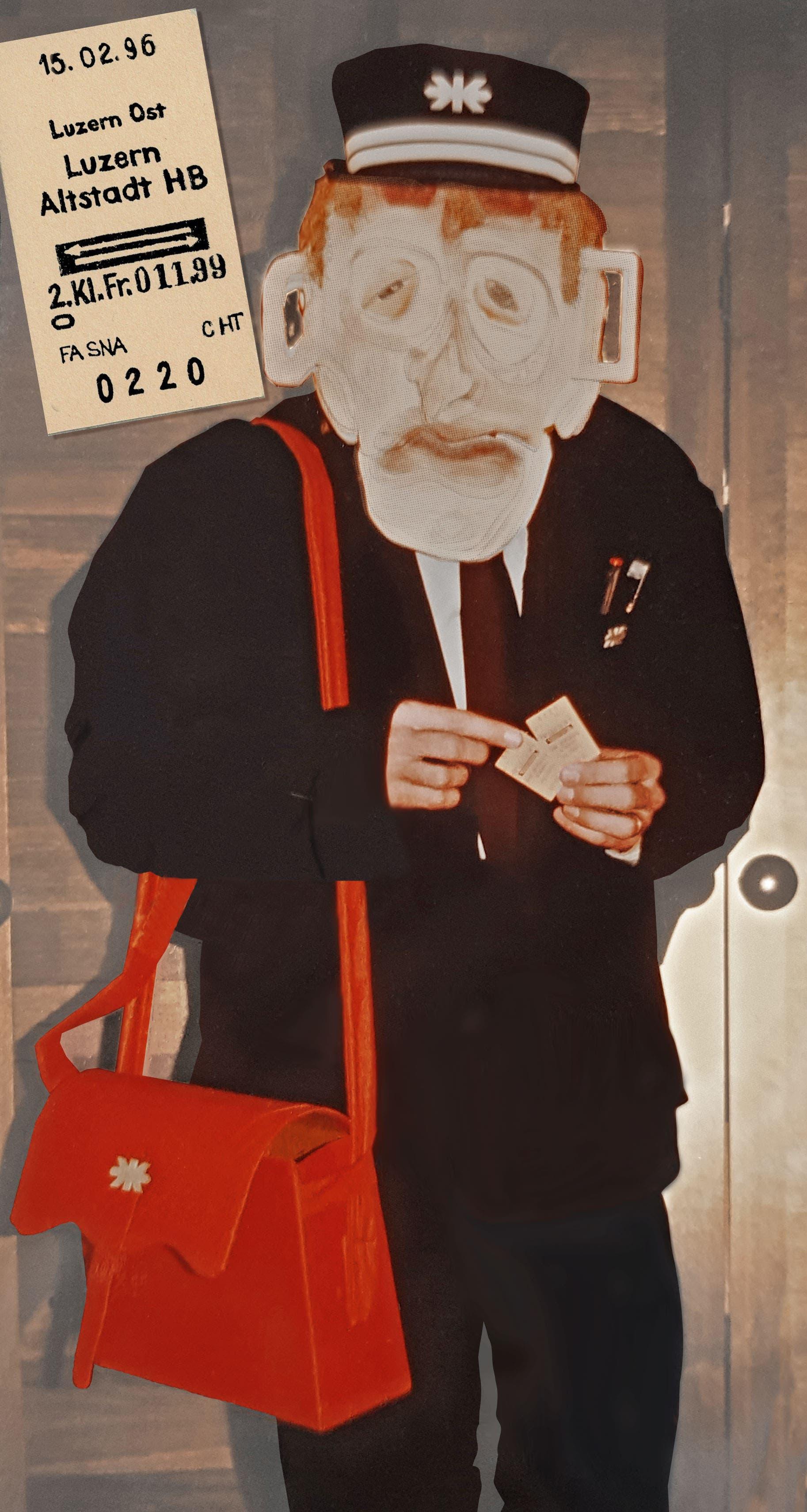 «Zum 25-jährigen Bahnhofbrand trottete ich als Kondukteur an die Fasnacht und verteilte Kartonbillette, wie anno 1971 üblich. Je nach Reaktion der Empfänger konnte ich die Augenpartie auswechseln in 'traurig', 'böse' und 'lachend', mit Schildern, die den Waggonanschriften der Züge glichen. PS: Ich hatte damals Schule (KV), wir bekamen frei: das Schulgebäude lag an der Frankenstrasse 50 Meter vom Bahnhof weg.»