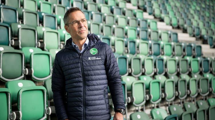 Matthias Hüppi ist seit drei Jahren Präsident des FC St.Gallen. Die Coronakrisebedroht den Klub wegen der fehlenden Zuschauereinnahmen in seiner Existenz. (Bild: Tobias Garcia)