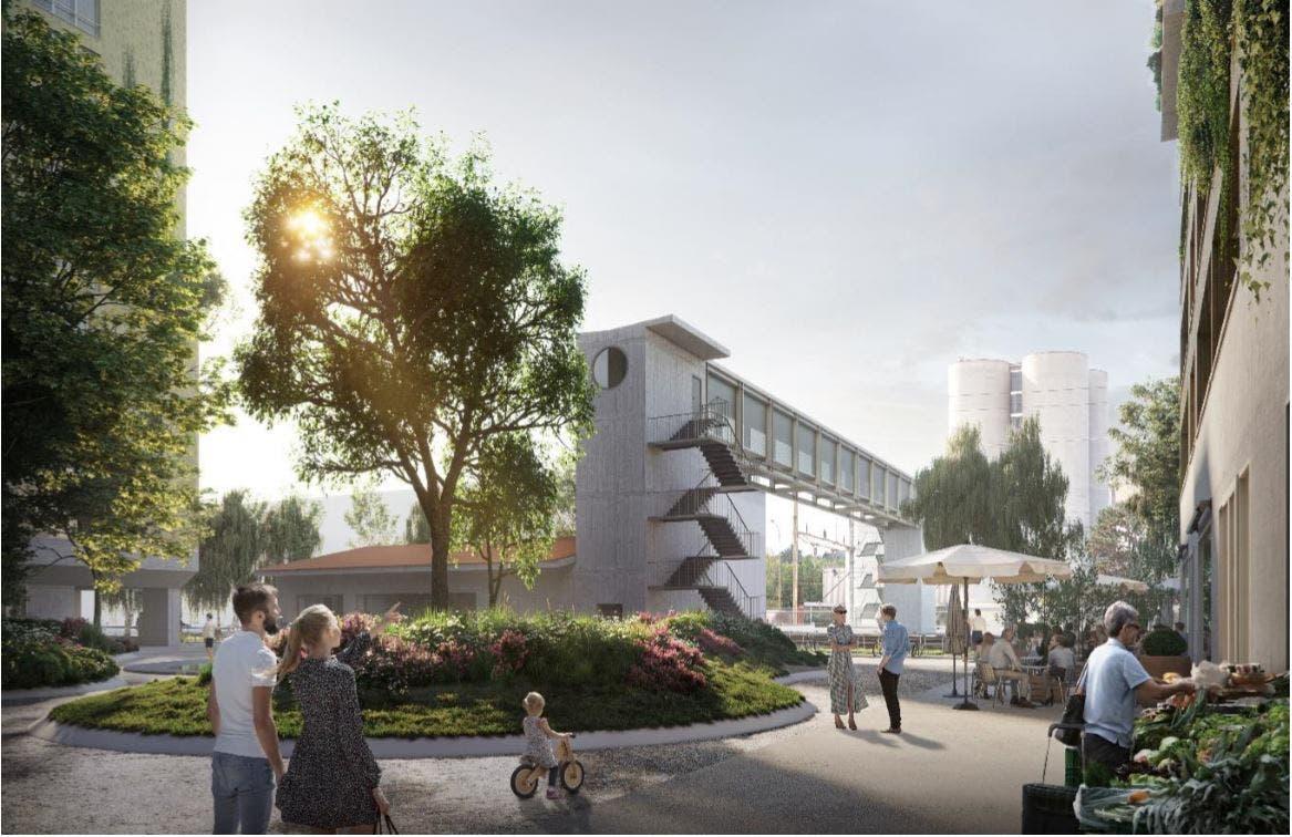 Die Passerelle soll vom zentralen Platz des neuen Stadtquartiers aus hoch gehen.