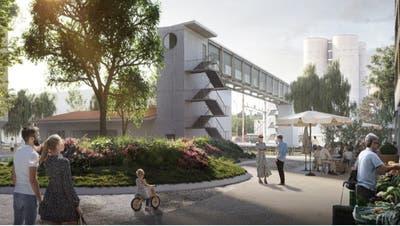 Die Passerelle soll vom zentralen Platz des neuen Quartiers aus hochgehen. (Raumgleiter AG)
