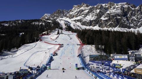 Der Zielraum der WM in Cortina. (Giovanni Auletta / AP)