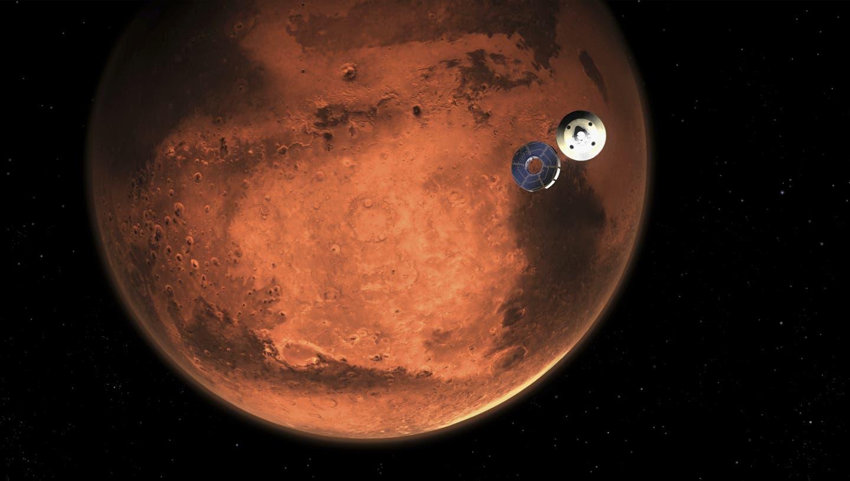 Darstellung der Perseverance-Mission Minuten bevor sie in die Mars-Atmosphäre eintritt. (AP)