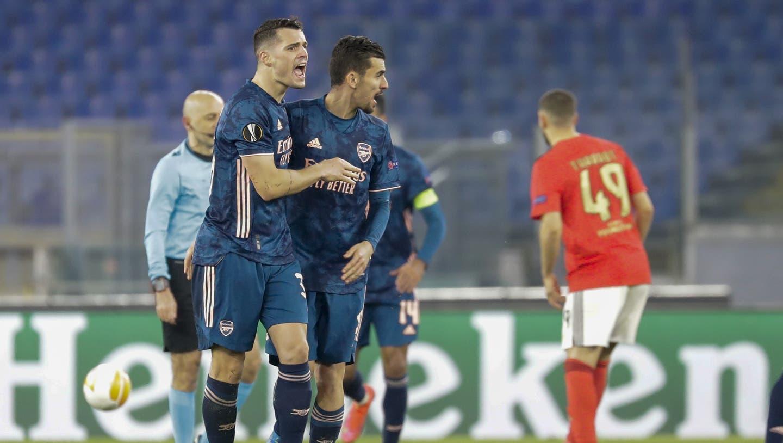 Granit Xhaka (links) und seine Gunners treten im Stadio Olimpico in Rom gegen Benfica Lissabon an. (Keystone)