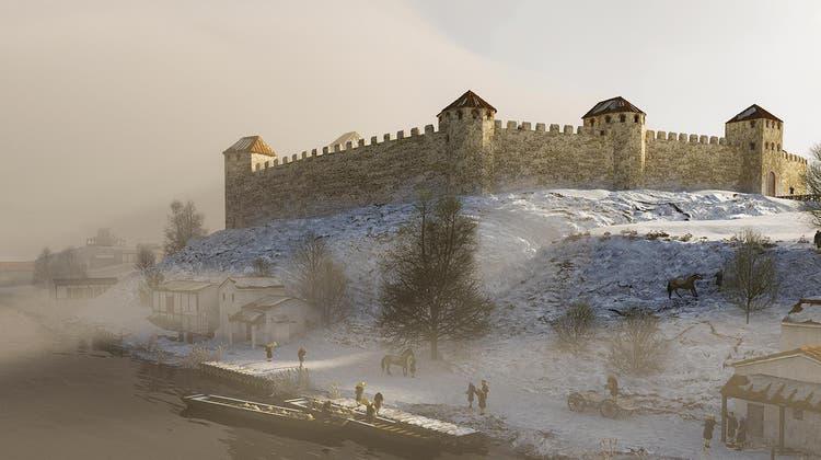 Die Illustration zeigt die Rekonstruktion des Kastells auf dem Lindenhof direkt neben der Limmat. Es hatte sechs oder sieben Türme. (zVg/Kantonsarchäologie)