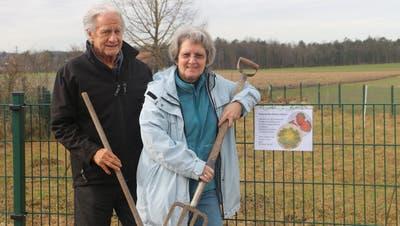 André Stehléund Madeleine Haller gründen in der Unterau einen Biogemüse-Gemeinschaftsgarten. (Bild: Hannelore Bruderer Kradolf, Februar 2021))