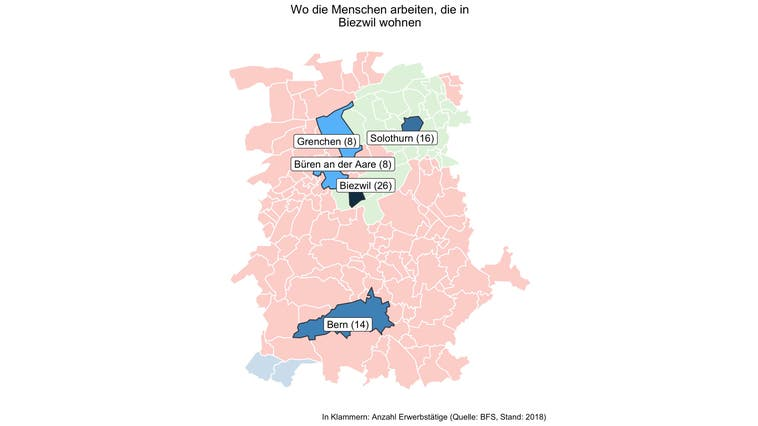 Rund 85 Prozent der Erwerbstätigen von Biezwil arbeiten ausserhalb der Gemeinde — deutlich mehr als in den meisten Gemeinden
