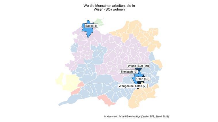 In Wisen (SO) arbeiten fünf von sechs Erwerbstätigen ausserhalb der Gemeinde — und damit deutlich mehr als in den meisten Gemeinden