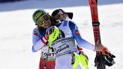 Darf sich über Slalom-Gold freuen: Katharina Liensberger. (Bild: KEYSTONE)