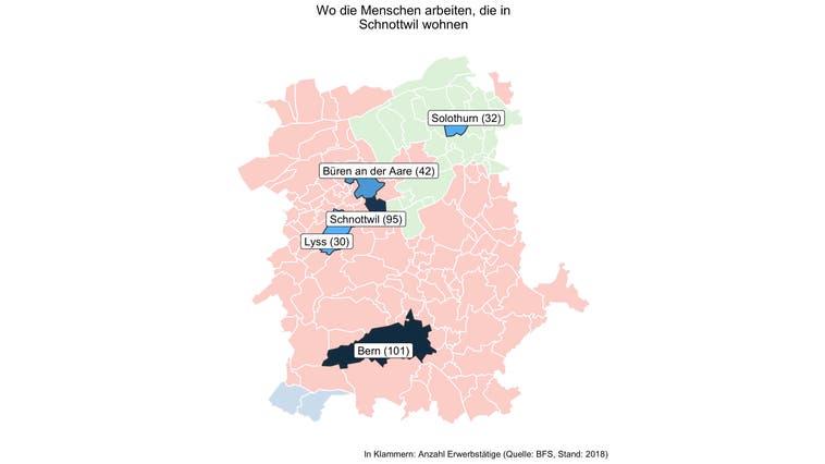 Rund 85 Prozent der Erwerbstätigen von Schnottwil arbeiten ausserhalb der Gemeinde — und damit deutlich mehr als in den meisten Gemeinden