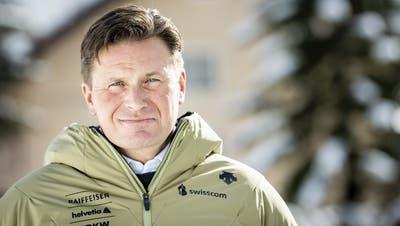 Urs Lehmann posiert in Cortina für den Fotografen. (Jean-Christophe Bott / KEYSTONE)