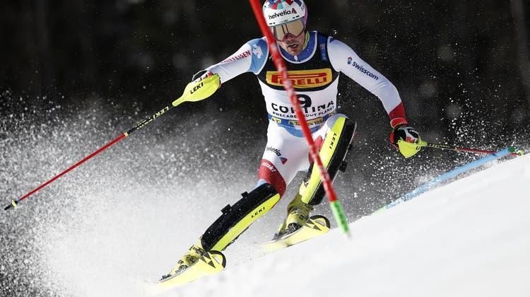 Daniel Yule holt sich beim WM-Slalom in Cortina als Fünfter das beste Ergebnis in diesem Winter. (Keystone)