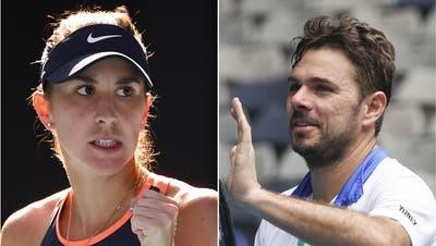 Belinda Bencic und Stan Wawrinka trommeln für Swiss Tennis. (Keystone)