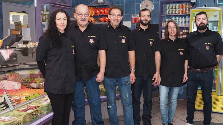 Das Team der Metzgerei Müller aus Stein freut sich über den gelungenen Start in Herznach. (Hans Christof Wagner (8. Dezember 2020))