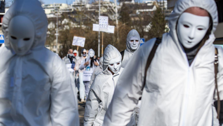 Demo gegen die Corona-Massnahmen am 20. Februar 2021 in Wohlen. (Urs Flueeler / KEYSTONE)