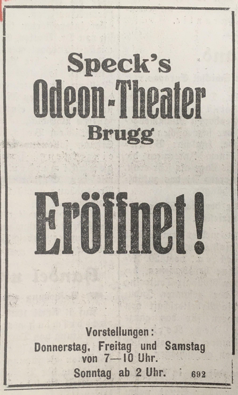 Die Ankündigung der Eröffnung erschien im «Brugger Tagblatt».