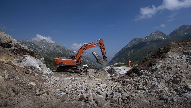 Der Bund soll Investitionen für Energieanlagen grösstenteils übernehmen: Bau eines Windparks im Gotthardgebiet. (Symbolbild) (Keystone)