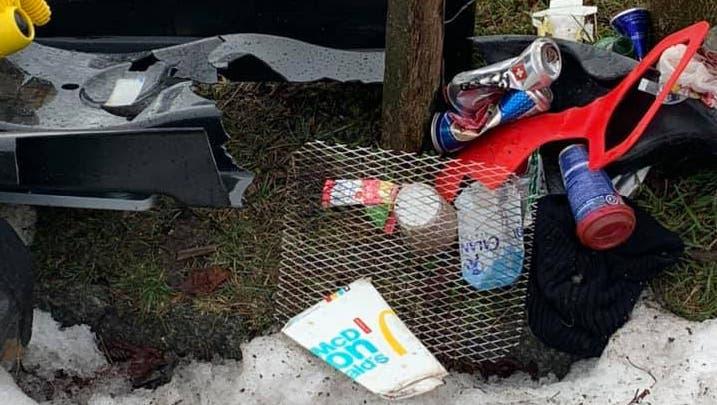 Andreas Heller deponierte eingesammelten Abfall auf dem Allerheiligenberg, damit der Werkhof diesen abholen kann. (Bild: Zvg)