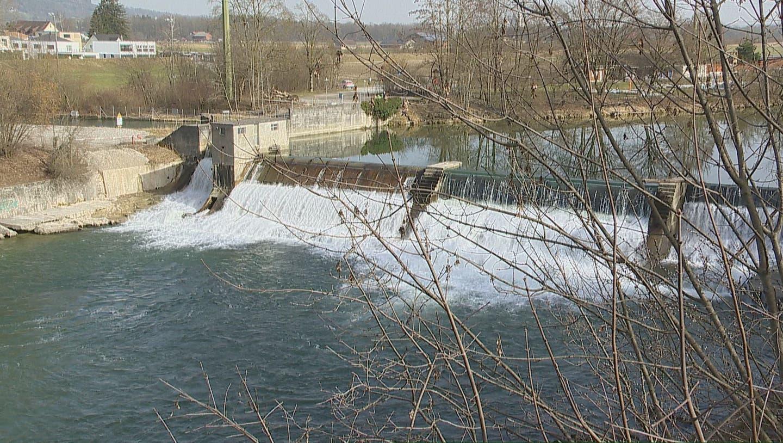 Eine Frau fiel oberhalb des Wehr in Weinfelden in die Thur und ertrank. (Bild: BRK News)