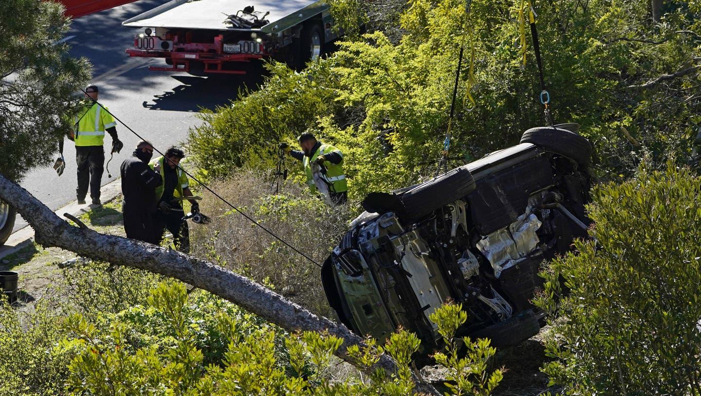 Tiger Woods ist am Dienstagmorgen mit seinem Auto im Südosten von Los Angeles schwer verunfallt. (Bild: Keystone /Marcio Jose Sanchez / AP)