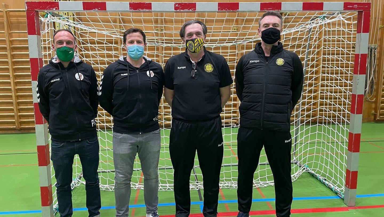 Zusammen in die Zukunft mit Patrick Michalczak (Sportlicher Leiter Fides), Alex Usik (Trainer Fides), Zoltan Cordas (Trainer St.Otmar) und Andy Dittert (Sportlicher Leiter St.Otmar und OHA). (Bild: PD)