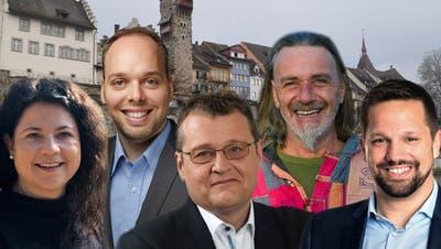 Die StadtratskandidatenBamert, Lilienfeld, Hausherr, Joller und Schmid (von links). (Montage AZ)