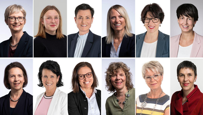 Diese Wiler Parlamentarierinnen machten an der Umfrage mit (von oben links, im Uhrzeigersinn): Valeska Stolz (SP), Meret Grob (Junge Grüne), Sandra Lusti (CVP), Susanne Gähwiler (SP), Brigitte Gübeli (CVP), Susanne Hartmann (CVP-Regierungsrätin), Dora Luginbühl (SP), Christine Hasler (CVP), Christina Rüdiger (SVP), Silvia Ammann (SP), Manuela Ebneter (FDP), Barbara Gysi (SP-Nationalrätin). (Christina Brunner)