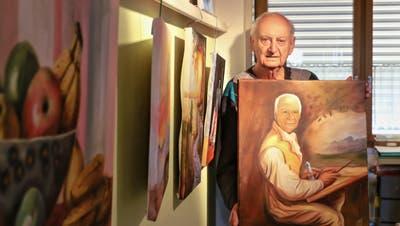 Maler Rudolf Schütz mit einem Selbstporträt aus dem Jahr 2012 nach dem Motto: Wie mich Augste Renoir vor 100 Jahren gemalt hätte. (Dennis Kalt / Aargauer Zeitung)