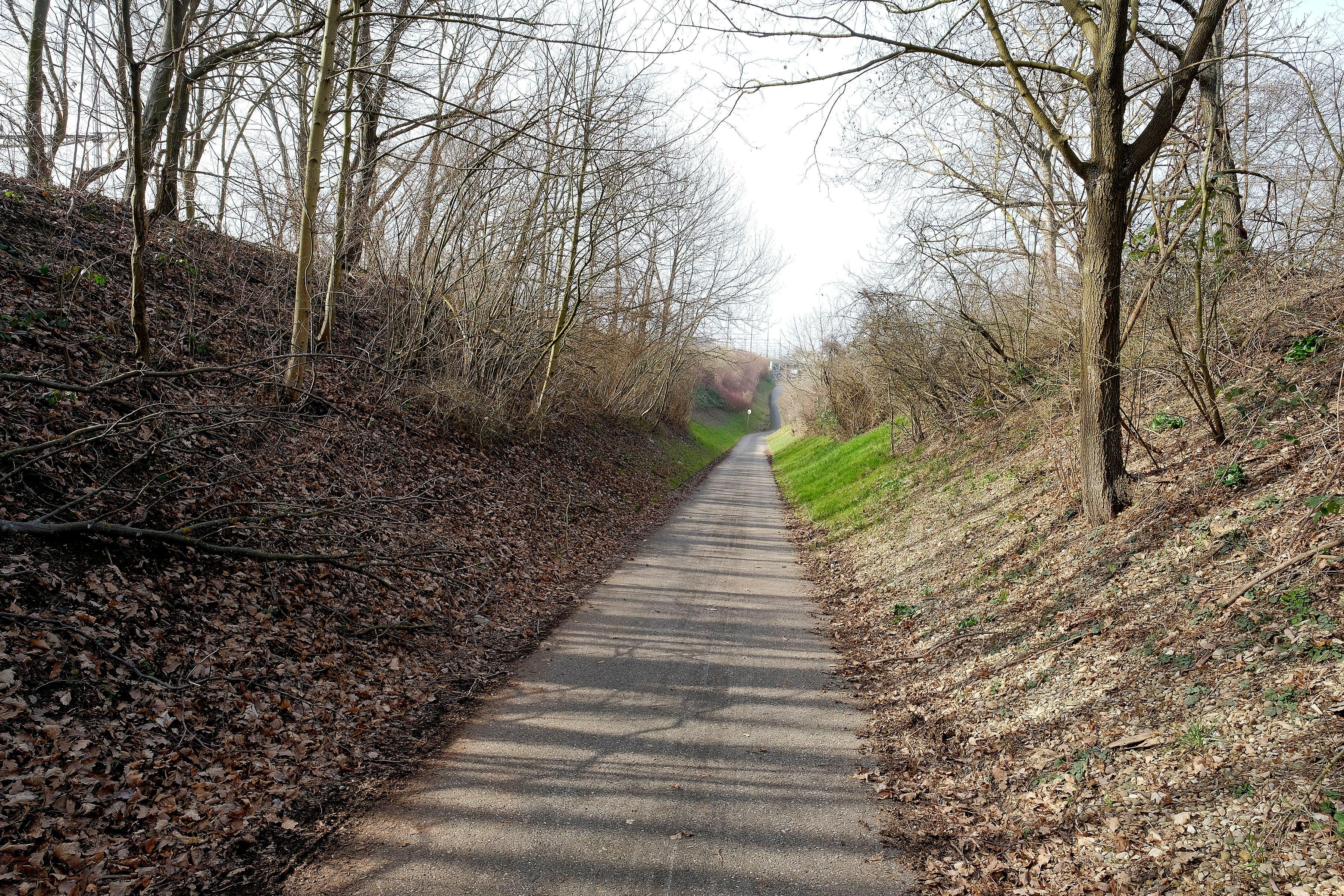... zwischen den Bahngleisen (links) und der Autobahn (rechts) hinunter...
