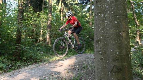 Mountain bikers on the Bike Trail on the Uetliberg, pictured on July 16, 2013 in Zurich, Switzerland. (KEYSTONE/Christian Beutler)Mountainbiker auf dem Biketrail am Uetliberg, aufgenommen am 16. Juli 2013 in Zuerich, Schweiz. (KEYSTONE/Christian Beutler) (Christian Beutler / KEYSTONE)