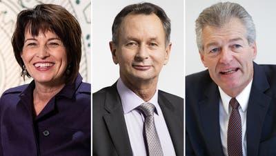 Nebst Alt-Bundesrätin Doris Leuthard engagieren sich auch Ex-FDP-Präsident Philipp Müller (m.) und Wirtschaftsvertreter Heinz Karrer (r.) bei Progresuisse. (Keystone/Montage CH Media)