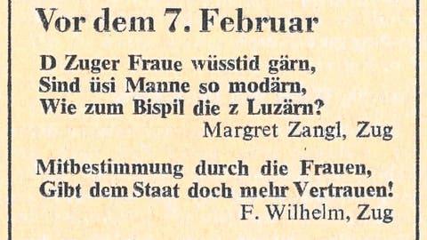 Diese Inserate erschienen 1959 und 1971 in Zuger Zeitungen. (Bild: Staatsarchiv des Kantons Zug/PD)
