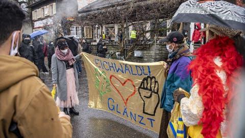 Hat den Stadtrat nicht überzeugt: die Demonstration für den Erhalt der alten Soldatenstube am vergangenen Samstag. (Bild: Urs Flüeler (Luzern, 30. Januar 2021))
