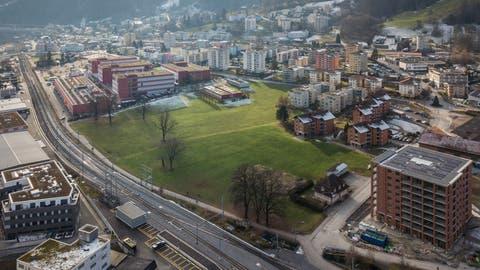Luftaufnahme der Hochschule Luzern in Horw mit Wiesland, wo der Campus entstehen soll. (Bild: Pius Amrein (10. Januar 2021))