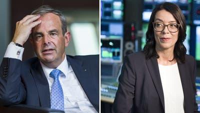 Mitte-Präsident Gerhard Pfister fährt SRF-Direktorin Nathalie Wappler an den Karren. (Keystone)