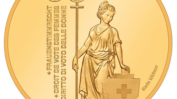 So sieht die Goldmünze der Eidgenössischen Münzstätte zu Ehren des Frauenstimmrechts aus. (Swissmint)