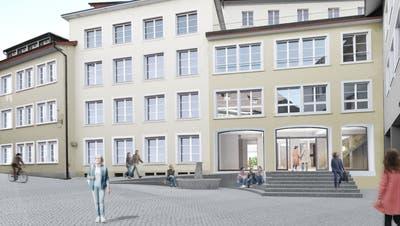 So präsentiert sich der Effingerhofnach der Sanierung von der Storchengasse her. Die Bibliothek ist im Erdgeschoss vorgesehen. (Visualisierung: zvg/Netwerch)