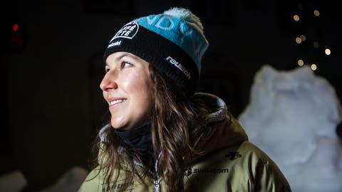 Wendy Holdener posiert in Cortina für den Fotografen. (Jean-Christophe Bott / KEYSTONE)
