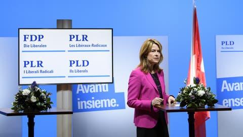 FDP-Präsidentin Petra Gössi an der virtuellen Delegiertenversammlung vom Samstag. (Keystone)