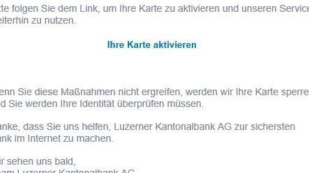 Achtung: Gefälschte LUKB-Mails im Umlauf