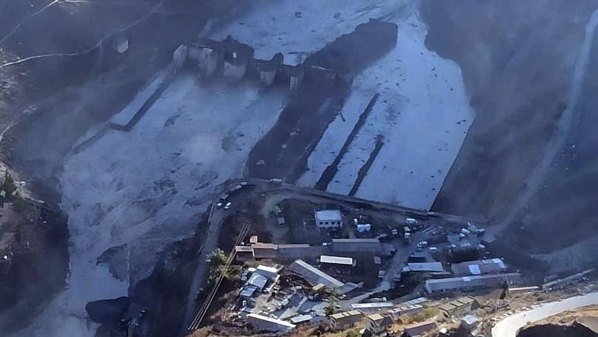 Luftaufnahme eines der vom Unglück betroffenen Elektrizitätswerke bei Reni, Uttarakhand, am 8. Februar 2021. (Indian Air Force Handout/EPA)