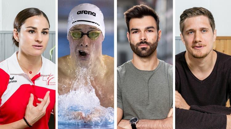 Elena Quirici, Yannick Käser, Oliver Hegi und Ciril Grossklaus wollen an den Olympischen Spielen brillieren. (key/san/sbi)