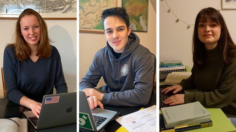 Meret Lenzhofer, Alexander Brandett und Christina Pompa studieren derzeit in den eigenen vier Wänden. (Bilder: Luca Giannini)