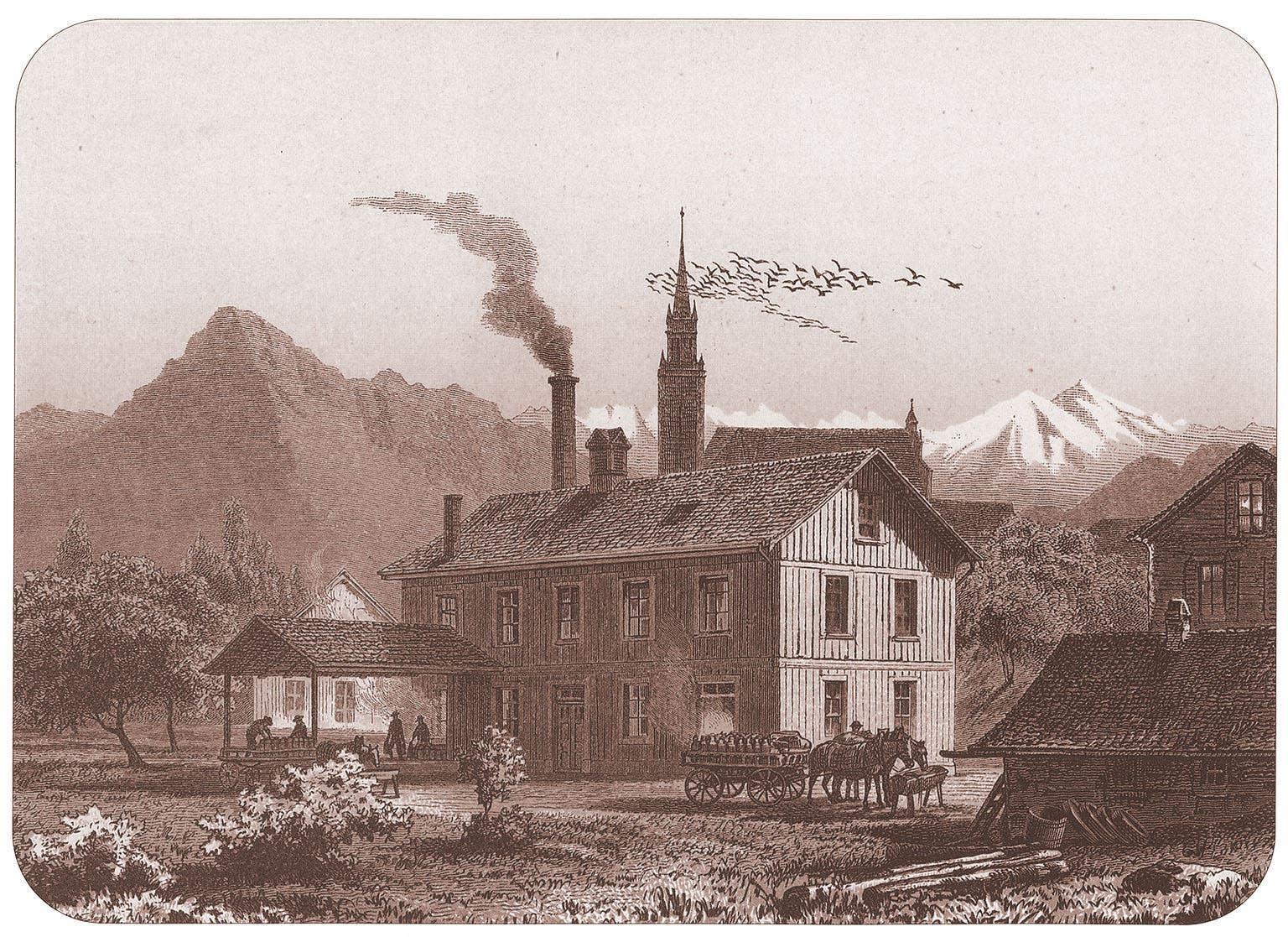 Die ursprüngliche Fabrik der Anglo-Swiss Condensed Milk Company aus dem Jahr 1866. Kupferstich von Johannes Weber von 1895.